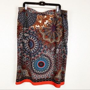Colorful patterned casual midi skirt
